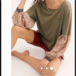 Free People, olive shirt, patterned sleeves,med